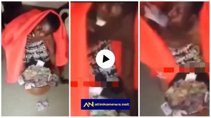 Young man vomits money