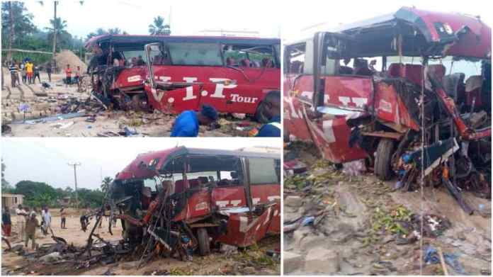 16 people dead, several others injured as 2 VIP buses crashed at Akyem Asafo