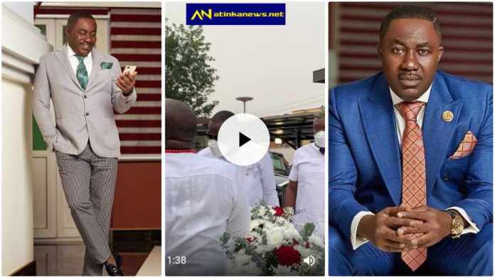 East Legon rich men storm Osei Kwame Despite's mansion to celebrate his birthday with him [Watch]