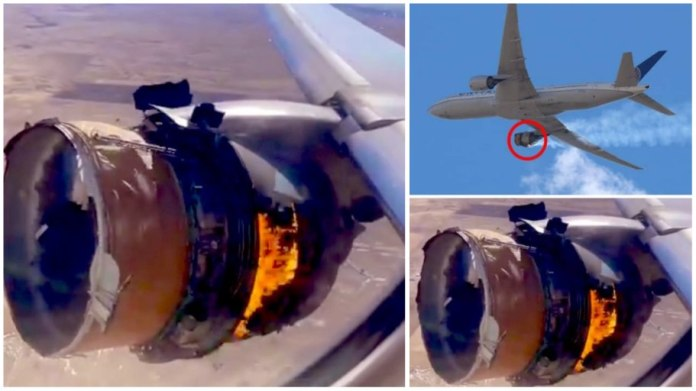 Terrifying moment Plane's engine explodes and catches fire mid-air