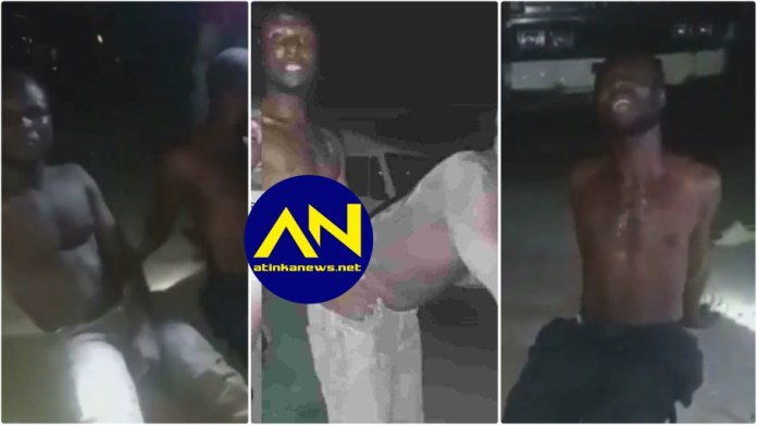 Two men are caught red-handed drilling each other 'nyash' hole in a parking lot