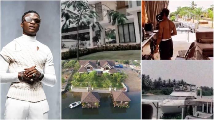Wizkid flaunts powerful riverside mansion, yacht and studio in Ghana