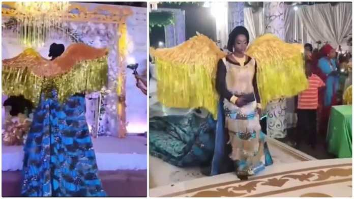 African print-wearing bride's angelic entrance