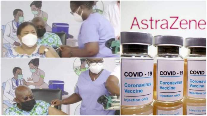 Akufo-Addo and wife Rebecca receive first dose of COVID-19 vaccine on live TV [Watch]