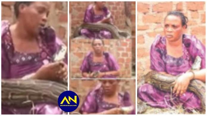 woman caught breastfeeding a snake