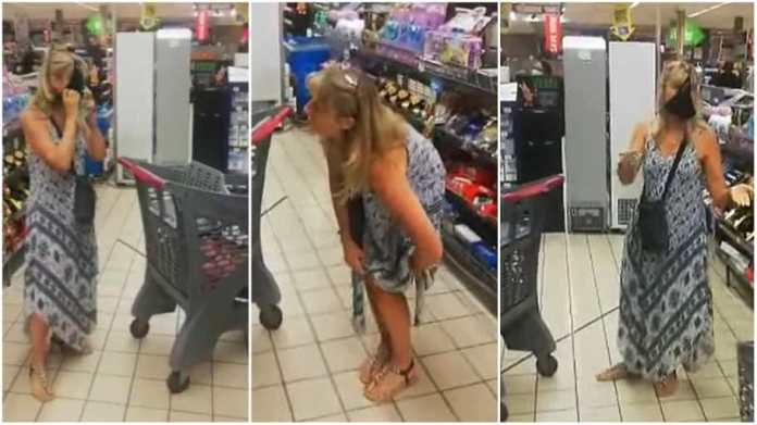 woman whips off her underwear and uses it as face mask inside a supermarket