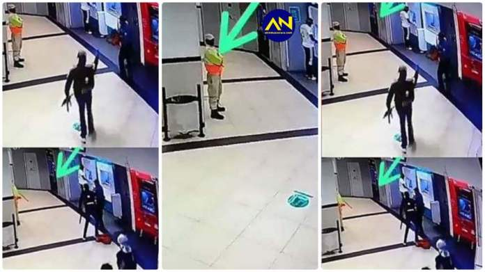 security guard hiding behind a pillar as heavily armed robbers pounced a local ATM