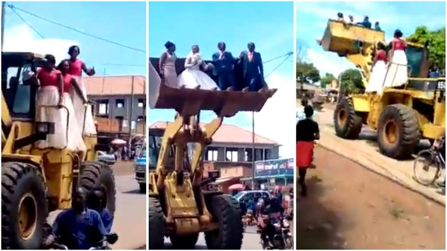 newlywed couple and their bridesmaids are ferried in a loader