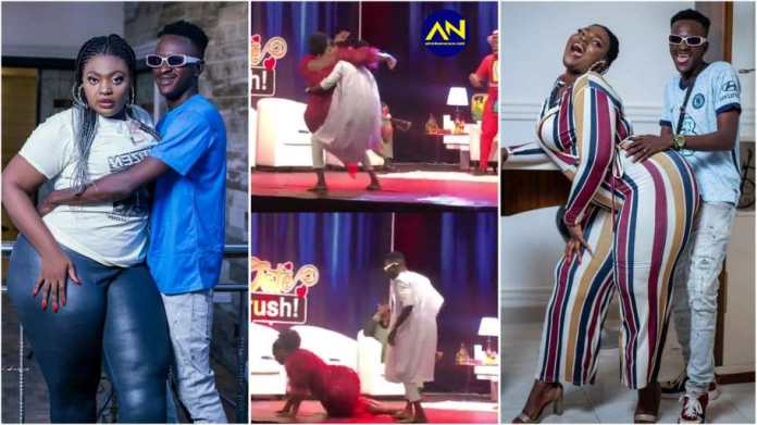Date Rush Ali falls on stage in failed attempt to lift Shemina on live TV [Watch]