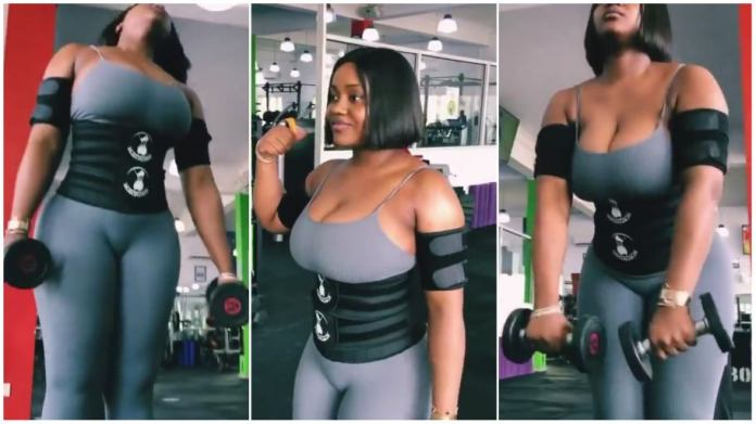 Davido's Chioma causes stir as she parades her massive curves in the gym