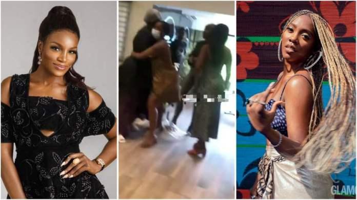 Tiwa Savage and Seyi Shay fight inside salon