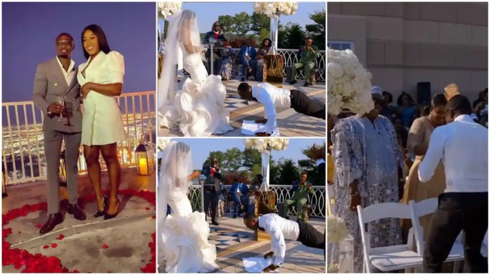groom does press up to be able to kiss his bride