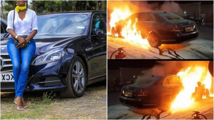 Jilted wife set ablaze Benz  her husband bought for his side chick