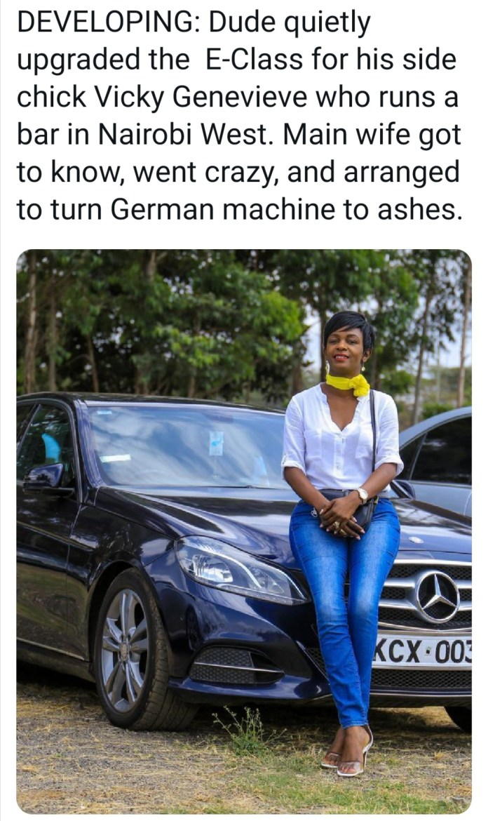 Jilted wife set ablaze Mercede Benz  her husband bought for his side chick