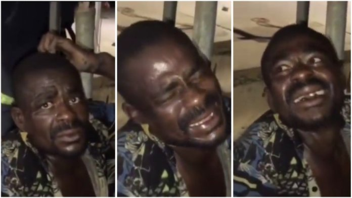 Thief forced to laugh while being beating