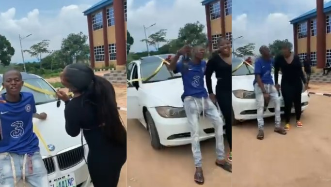 Alleged 18-year old sakawa boy buys a brand new car for for his 25-year-old girlfriend as birthday gift [Watch]