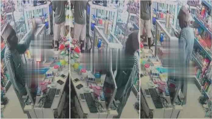CCTV exposes old man stealing mobile phone from a pharmacy in Mafia style