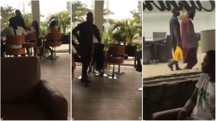 Man snatches a wig and shoes he bought for his girlfriend after he saw her with another man in a restaurant