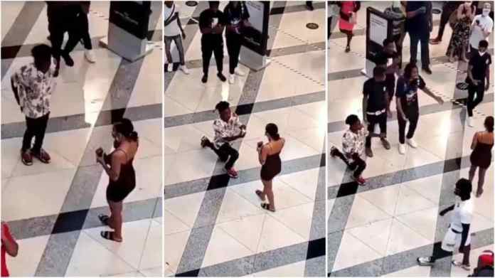 Lady embarrasses boyfriend after proposing to her in public