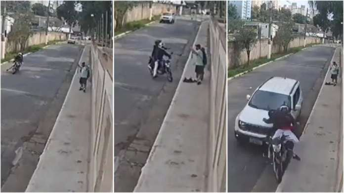 Driver rams motorbike-riding thugs when they were robbing couple at gunpoint