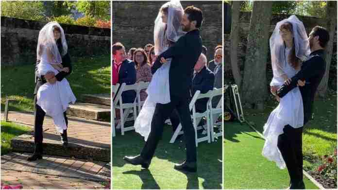 Groom carries bride's twin sister with a disability