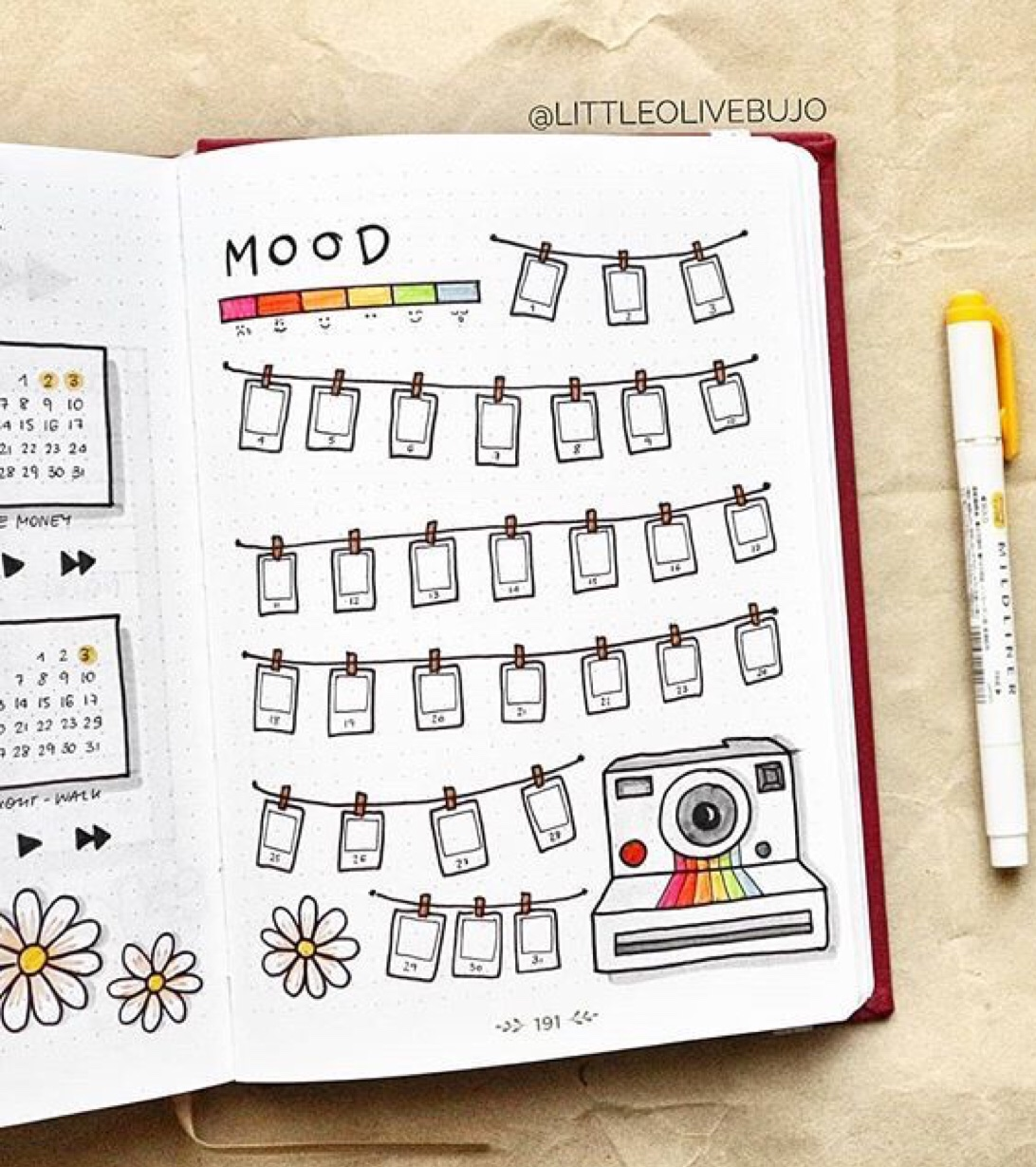polaroid, mood trackers, inspired