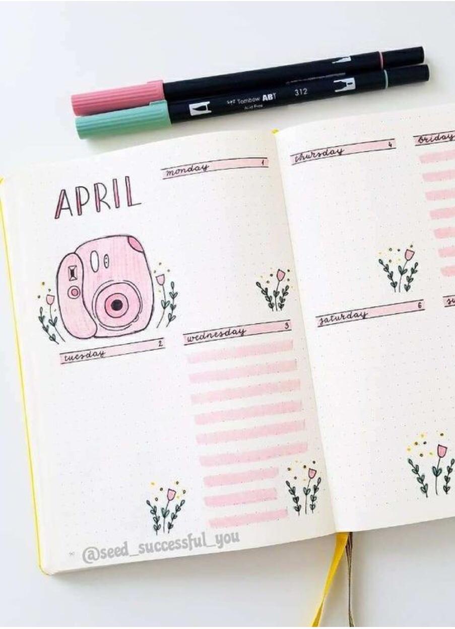 weekly, spread, pink polaroid, flower