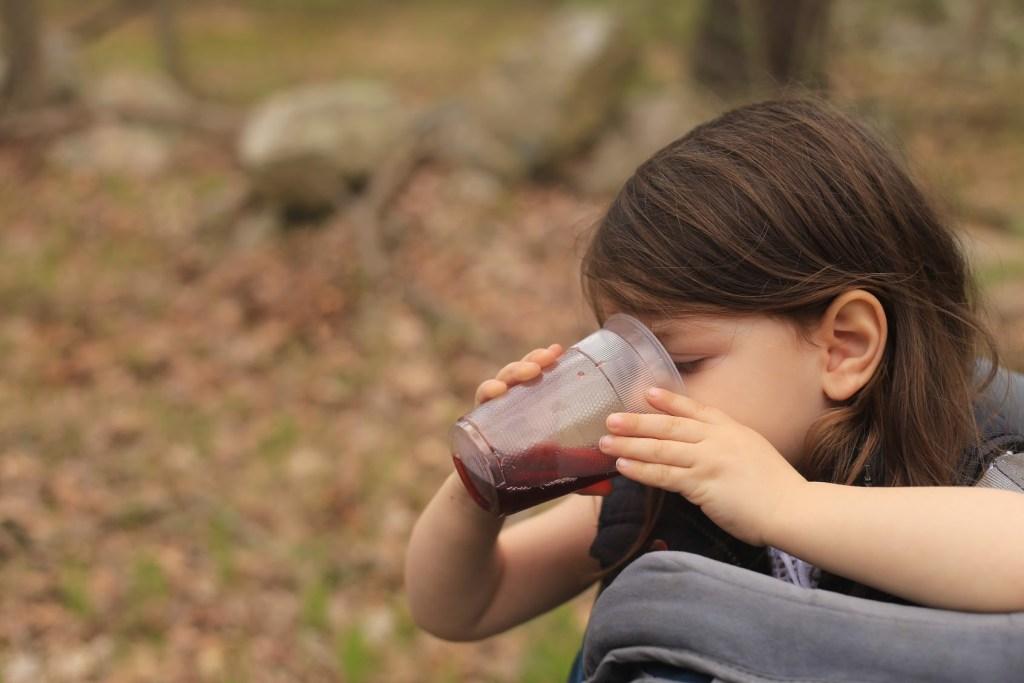 Drinking grape juice at Harriman state park
