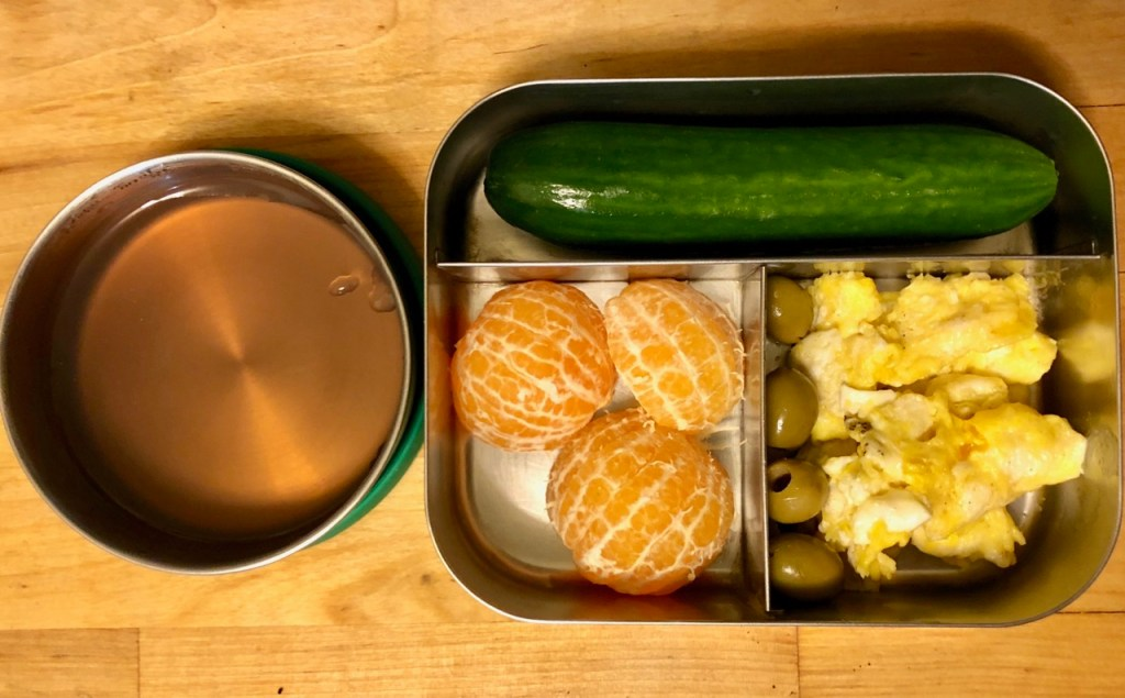 Homemade jello / scrambled egg / olives / clementines / cucumber