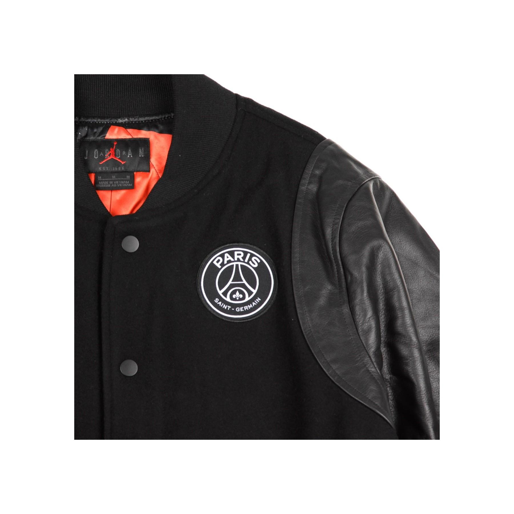 giubbotto college paris saint germain varsity jacket black white