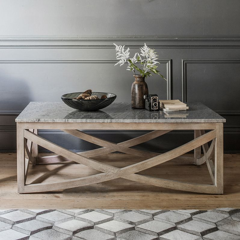 lily coffee table with a grey marble top