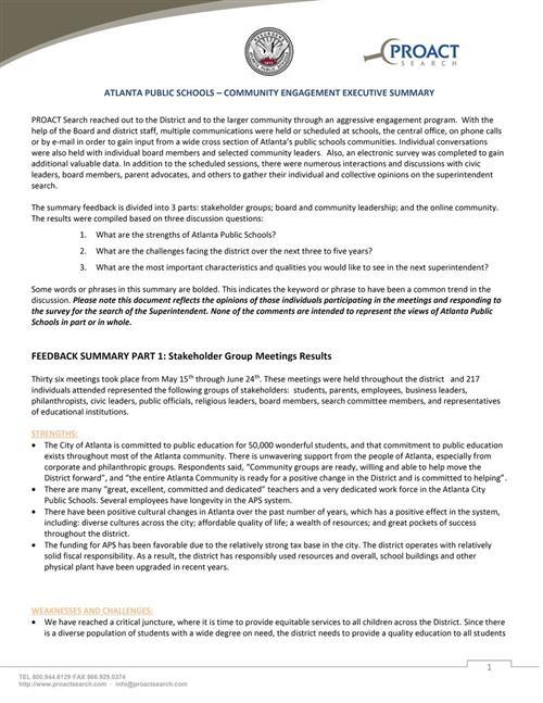 executive summary format to use for submissions to us