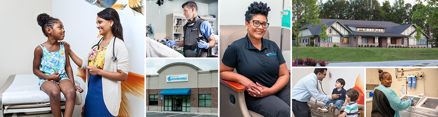 collage of doctor touching patient, employee smiling, and Lithonia and Canton locations