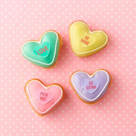 Krispy Kreme conversation heart doughnuts Valentine's Day