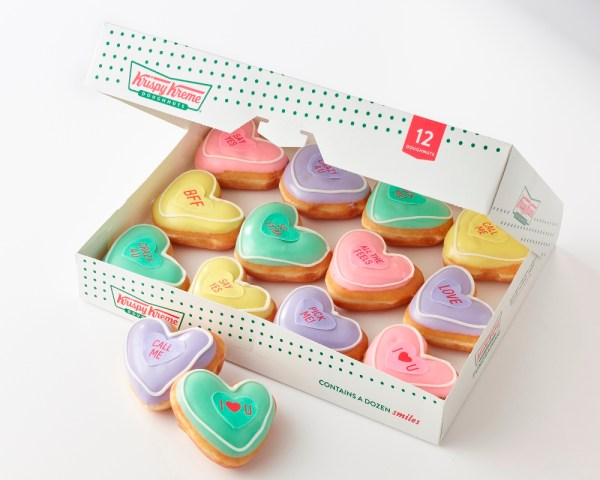 Krispy Kreme conversation heart doughnuts for Valentine's Day