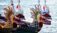 colorful dragon boats on the lake
