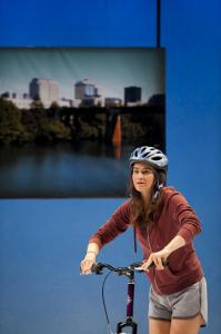 Jessica DiGiovanni in the Alliance Theatre's production of Bike America.Photo by Greg Mooney