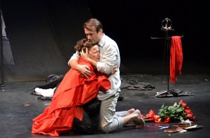 Carolyn Cook and Joe Knezevich in Hamlet. Photo by Georgia Shakespeare