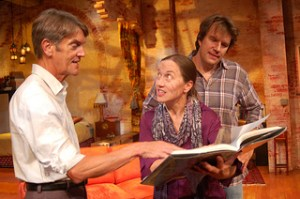Chris Kayser, Carolyn Cook, Robin Bloodworth in Time Stands Still. Photo by Horizon Theatre
