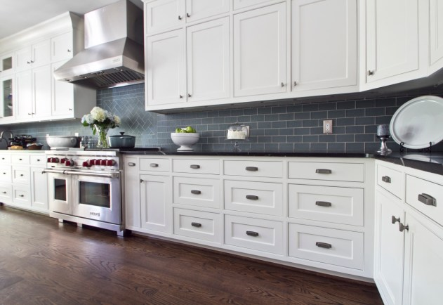 Inset doors and drawers give a classic look to this kitchen.