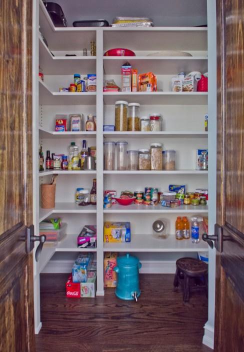 Adjustable pantry shelving.