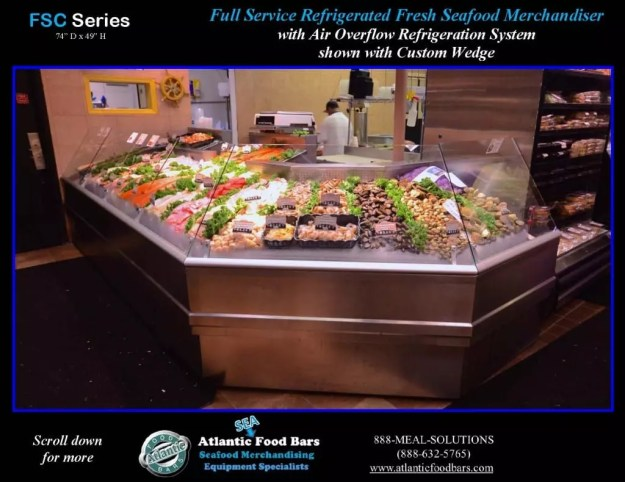 Atlantic Food Bars - Full-Service Fresh Seafood Merchandiser with Custom Wedge - FSC22261 front
