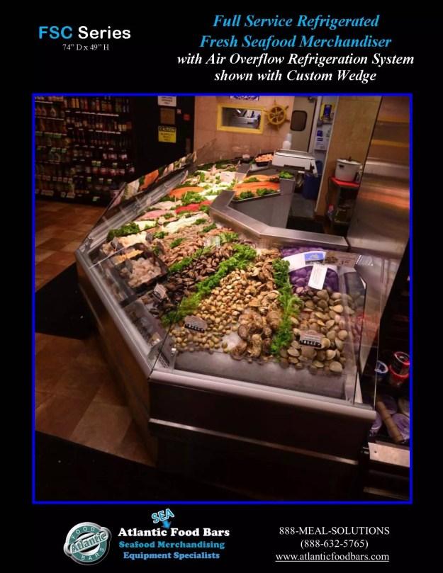 Atlantic Food Bars - Full-Service Fresh Seafood Merchandiser with Custom Wedge - FSC22261 side