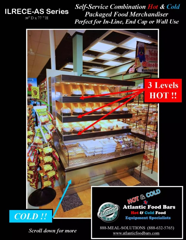 Atlantic Food Bars - Hot over Cold Combination Packaged Food Merchandiser - ILRECE4838-AS