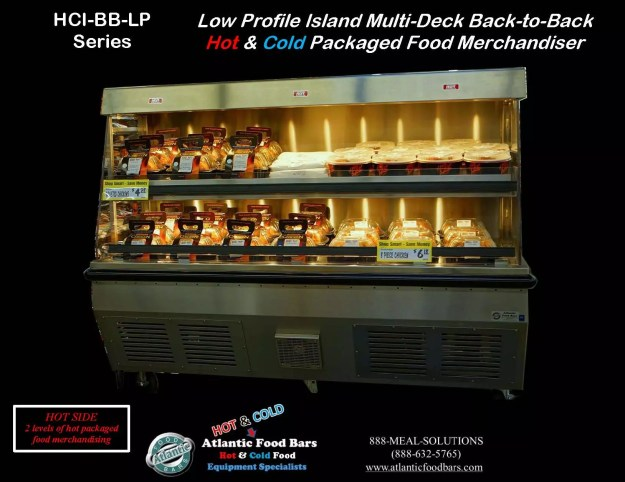 Atlantic Food Bars - Back-to-Back Hot & Cold Low Profile Island Multi-Deck Packaged Food Merchandiser - HCI4862-BB-LP 1