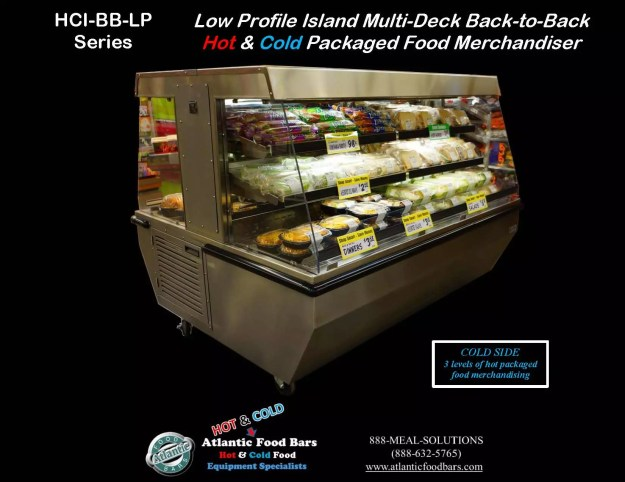 Atlantic Food Bars - Back-to-Back Hot & Cold Low Profile Island Multi-Deck Packaged Food Merchandiser - HCI4862-BB-LP 2