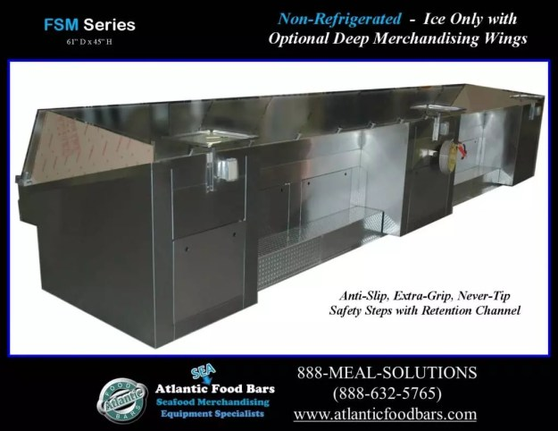 Atlantic Food Bars - Non-Refrigerated Ice-Only Seafood Case with Deep Merchandising Wings - FSM19261 1
