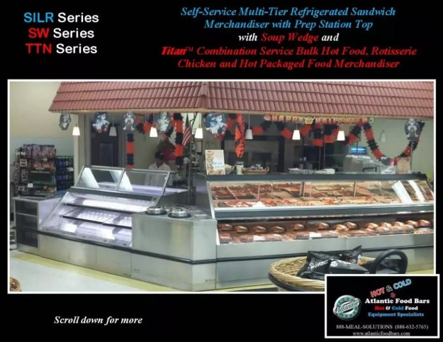 Atlantic Food Bars - Hot and Cold Lineup featuring Combination Service Hot Case, Soup Wedge and Refrigerated Multi-Deck Merchandiser - TTN14444 SW SILR7254 1