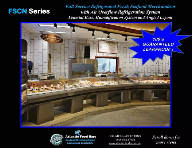 Atlantic Food Bars - Seafood Case Angled Lineup with Pedestals - FSCN192-P-HS-W and FSCN144-P-HS-W 1