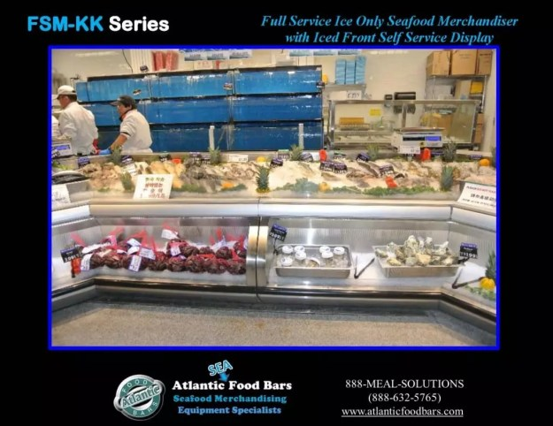 Atlantic Food Bars - Seafood Case Lineup with Front Knee Knocker and Angles - FSM-KK-P-HS-W 4